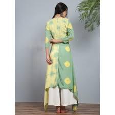 the secret label green and yellow peshwa pastel angrakha kurti
