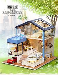 Dolls House Furniture Diy Diy Dollhouse Miniature Kit Dolls House With Furniture Cover Red