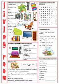 living room vocabulary exercises worksheet free esl printable