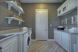 beige color for laundry room with painted wood cabinets
