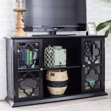 modern moroccan black quatrefoil tv stand media cabinet with glass