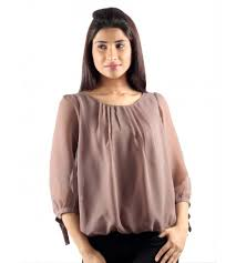 tops online like the subtle look checkout this brown georgette top by