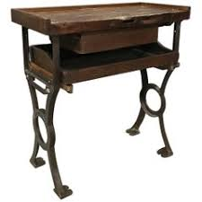 Work Bench Table Vintage Industrial Cast Iron And Wood Display Work Bench