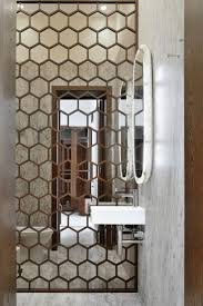 hexagon mirrored wall bathroom design idea tile shapes