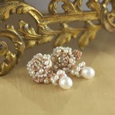 pearl lace handmade thalie earrings gold lace bridal posts with