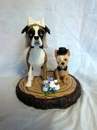 custom made clay wedding cake topper sculpture yorkie boxer