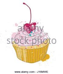 set of vector hand drawn cupcake sketch isolated on white stock