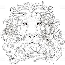lovely lion coloring page stock vector art 494735104 istock