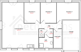 plan de maison plain pied 3 chambres maison plain pied 3 chambres avec garage immobilier pour tous avec