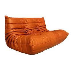 cognac leather ligne roset togo sofa set designed by michel