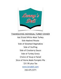 thanksgiving menus lennys rosh hashanah yom kippor menus lenny u0027s deli los angeles