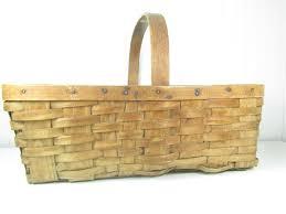 basket picnic basket farmhouse shabby chic basket woven basket