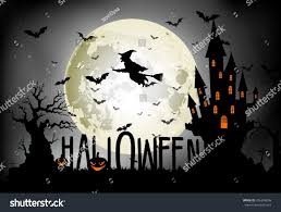 the background of halloween halloween background witch on full moon stock vector 326346098