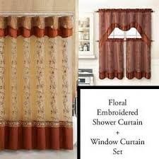 Shower Curtains Sets For Bathrooms by Cinnamon Shower Curtain And 3pc Window Curtain Set Bathroom Decor