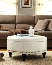 Leather Upholstered Bed Fine Round Brown Ottoman Images Medium Size Of Coffee Turquoise