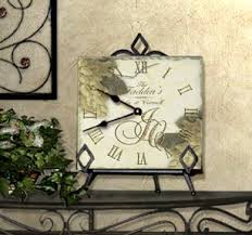 personalized anniversary clocks personalized tumbled tile clocks