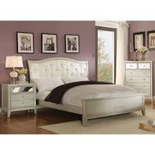 Bed And Nightstand Set Furniture Of America Divenna Modern 4 Piece Crocodile Silver