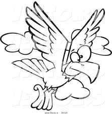vector of a cartoon eagle flying coloring page outline by