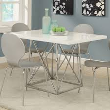 monarch specialties 1046 rectangular dining table in white monarch specialties i 1046 white glossy chrome metal 36 inch x 48 inch dining table