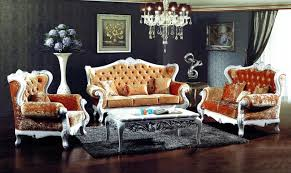 antique style living room furniture french style orange color fabric sofa sets living room furniture
