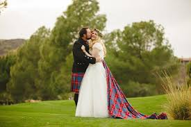 scottish wedding dresses detachable panel tartan custom made by alis fashion