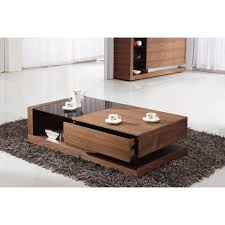 contemporary square glass top coffee table tobe river wood and