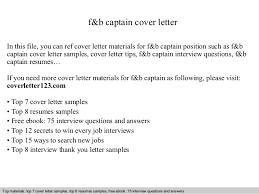 Sample Resume For Food And Beverage Supervisor by F U0026b Captain Cover Letter