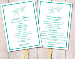 Diy Wedding Fans Templates Beach Wedding Program Fan Template Ceremony Program