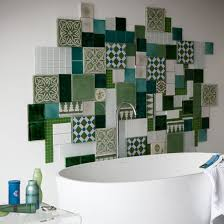 green and white bathroom ideas patchwork collage of different wall tiles 71 cool green
