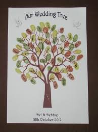 wedding fingerprint thumbprint tree personalised guest book with a