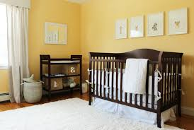 gender neutral bedroom ideas decoration using yellow stripe baby