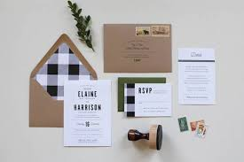 Kraft Paper Wedding Invitations Picture Of A Rustic Flannel Wedding Invitation Suite In Green
