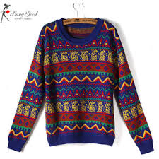 tribal sweater blue vintage tribal pattern neck jumper sweater polyvore