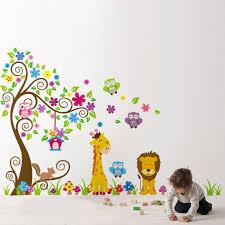 home decoration diy kid u0027s child room decal cartoon cute lion owl
