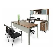 U Shaped Desk Modern U Shaped Desk With Open Hutch Bridgecreek Office