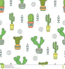 cactus seamless pattern doodle colorful flowers in pots stock