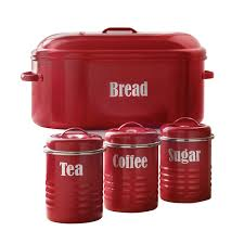 100 kitchen canisters red tea coffee sugar box jars caddy