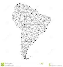 map of south america from polygonal black lines dots of