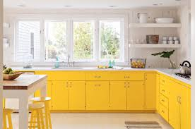 kitchen trendy yellow white two tone kitchen cabinet with white
