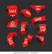 ribbons for sale collection sale discount origami styled website stock vector