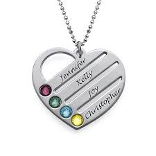necklace with name and birthstone birthstone heart necklace with engraved names mynamenecklace