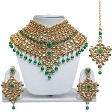 green necklace set images Buy lucky jewellery bridal green color kundan stone gold plating jpg