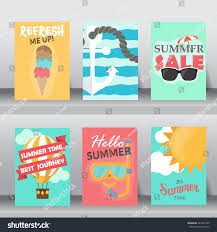 Invitation Card Size Summer Holiday Vacation Poster Set Flat Stock Vector 421851445