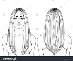 Fashion Illustration Haircut Long Hair Vshape Stock Vector
