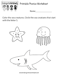 free printable phonics worksheets for kindergarten worksheets
