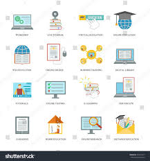 online education icons set workshop live stock vector 224416417