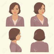 pictures of hairstyles for a full face vector girl hairstyles full face and profile head character
