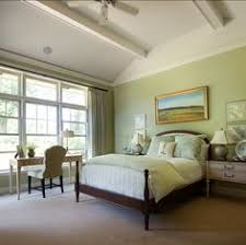 Green Bedroom Design Ideas Sage Green Accent Wall Behind The All White Bed With Green