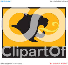 Lion Flag Clipart Illustration Of A Black And Orange Banner Or Flag With A