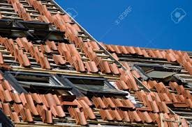 Tile Roof Repair Tile Roof Repair Or Construction Work In Progress Stock Photo